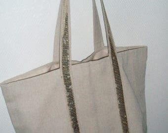 Cream bag with glitter gold bandouilleres