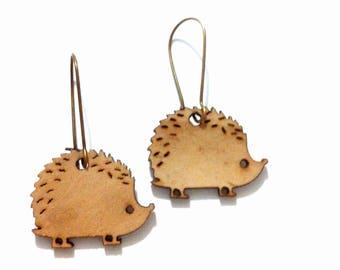 wooden Hedgehog earrings