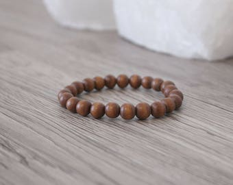 Wood Bead Bracelet  - Light Brown / Stacking Bracelets / 8mm Wood Beads / Men's Bracelet / Men's Wood Bracelet / Stretchy / Round