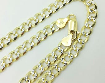 "925 Sterling Silver Italian Solid Yellow Pave Cuban Curb Link Chain 20""-30"" 7mm"