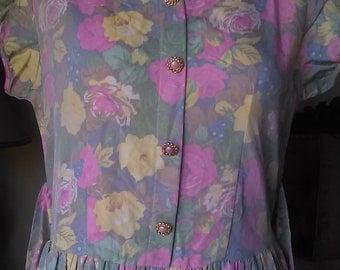 Vintage floral |80's Dress| Medium Large