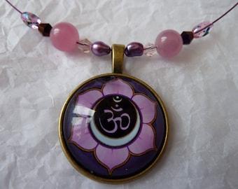 """Yoga """"Om"""" Lotus Flower - OOAK necklace Swarovski Crystal and rose quartz"""
