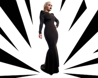 Fishtail Black Power Dress