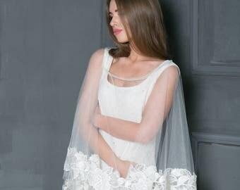 Bridal lace  bolero, Wedding cape, Wedding lace cape, Bridal coat, Ivory cape, White bridal lace cape.
