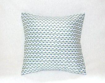 Housse de coussin 40 x 40 cm, taie d'oreiller, tissu d'ameublement blanc aux motifs géométriques, bleus, gris, verts
