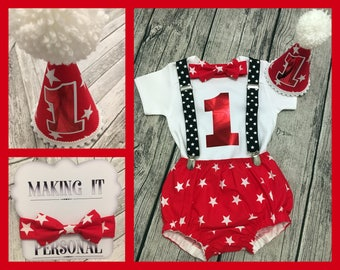 Boys 1st Birthday Cake Smash Outfit Red White Star Party Hat Nappy Pants Braces Bow Tie Bodysuit Vest Glitter Vinyl 1 READY TO POST!!