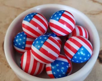 Set of 3 3D USA American flag beads
