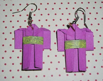 Pair of earrings purple kimono (origami earrings)
