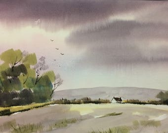 Original Watercolor Landscape Painting - Summers Fall