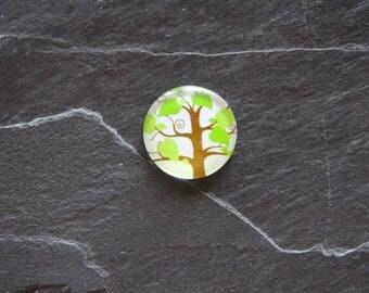 """Tree leaf"" 25 mm cabochon glass"