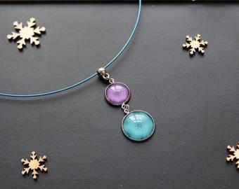 Semi rigid necklace, flower, purple / blue glass cabochon