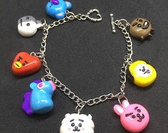방탄소년단 BTS Bangtan BT21 Unofficial Charms Bracelet | Custom Made | K-POP Bracelet | Keychain | Necklace | Phone Strap