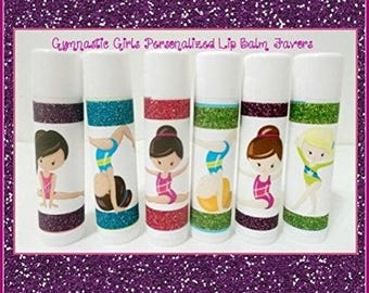 GYMNASTICS Girls Lip Balm - Gymnastics Team Gifts - Gymnastics Party Favors - Free Personalization - Individual - You Select The Quantity