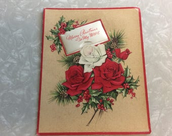 Vintage Christmas Card, Wife Christmas Card, 1950s Christmas Card, Used Signed Card