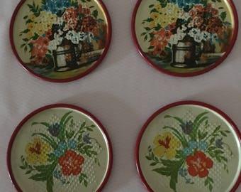 1940's Set of 4 Vintage Metal Coasters with Flowers, Enameled Metal Coasters