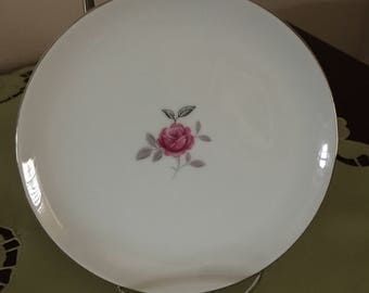 Vintage Bread & Butter Petite Rose Plate by Gildhar Co, Pink Center Rose on Plate, Red Rose and Silver Leaves Plate
