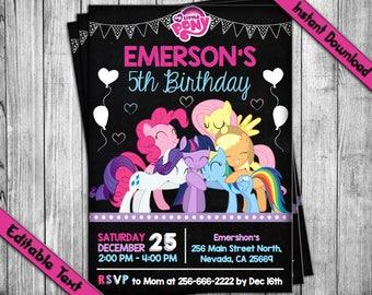 My Little Pony Invitation, My Little Pony Birthday Invitation, Little Pony Party, Little Pony Invite, Little Pony Birthday, Little Pony PDF