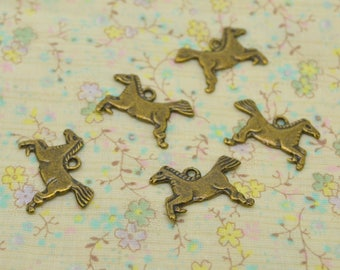 5 x riding extra flat 16mm galloping horse charm / 13mm