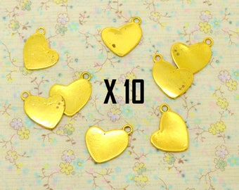 10 x heart charm asymmetrical love gold metal