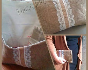 Burlap and white lace pouch
