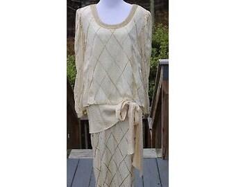 VTG Beaded Dress, VTG Silk Dress, Silk Beaded Dress, 80's Dress, Vintage Bead Dress, Francesca Of Damon For Starington Dress Silk Size 10