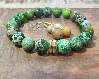 Green Imperial Jasper Natural Gemstone Stretch Bracelet/Beaded Bracelet/Drop Earrings/Gift Set/Gift for Her/Gift/Gift for Woman/Chunky