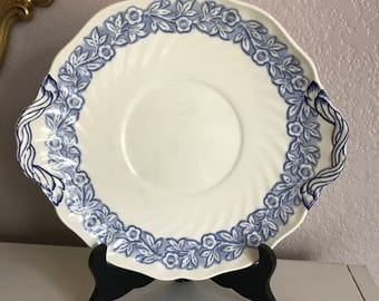antique blue and white Royal Doulton plate, made in England, french blue, vintage,cake plate,