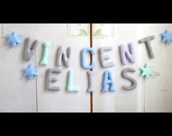 Prénom guirlande  *VINCENT*ELIAS*lettres en tissus