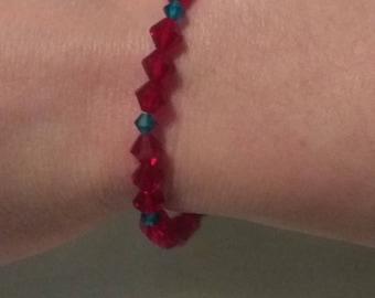 Ruby red and dark blue Swarovski crystal bracelet