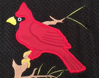 """Cardinal embroidery/applique on black terry towel, SIZE- 16""""x26"""", Use as a dish or guest towel"""