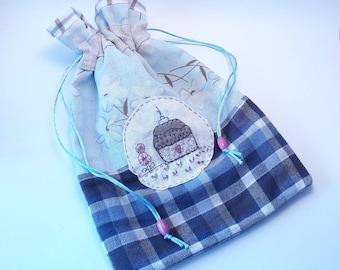 Nursery bag, diaper bag, birth bag, work bag, hand embroidered bag, linen bag and flannel