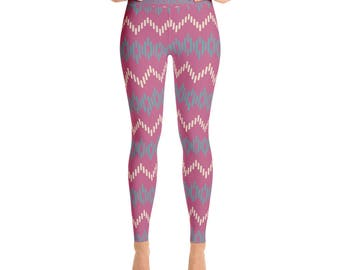 Purple Zig Zag Striped - Yoga Leggings