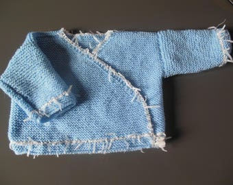 Bra wrap-blue and white knitted by hands