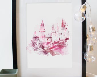 Poster Poster Hogwarts - Hogwarts. Digital fashion watercolor, watercolor painting. For Harry Potter's fans!