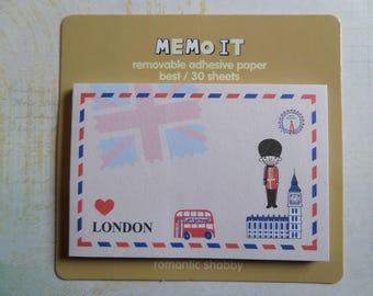 Block it London bus shabby romantic memo notes