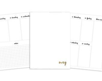 B6 May Weekly Printable Insert - TN - Plain Cover