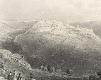Mount Zion, from the Hill of Evil Counsel, Jerusalem, Palestine 1847 - Old Antique Vintage Engraving Art Print - Shepherd, Mosque, Cliff