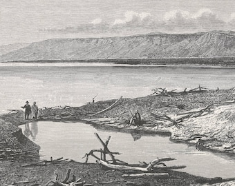 Palestine 1885, North End of the Dead Sea, Old Antique Vintage Engraving Art Print, Man, Arab, Tree, Dead, Water, Sea, Mountain, Branch