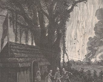 Sudan 1875, Camp Masindi Burned by Indigenous People, Old Antique Vintage Engraving Art Print, Man, Woman, Running, House, Straw, Tree