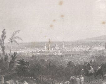 Syria 1836, Damascus, From Above Salahyeh, Old Antique Vintage Engraving Art Print, City, Distant, Mosque, Dome, Tree, Caravan, Man