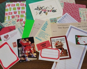 Red and Green Christmas Mini Paper Pack / 20+ Pieces / Vintage & New / Collage pack/Paper ephemera lot/ junk journal pack / pen pal lot