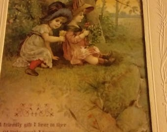 Vintage Greeting Card - Embossed Victorian Birthday Card - Ambassador Heirloom Classics - Little Girls Sitting Under Tree
