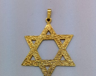 14K Gold Star of David Necklace, large Star Of David Necklace, Judaica Jewelry, David Star Necklace, Gold Magen David, Jewish Jewelry, Gift.