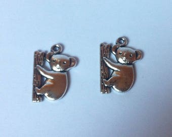 Set of 2 koalas in Tibetan silver charms