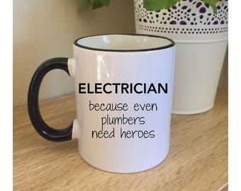 Electrician hero gift for electrician gifts for electricians electrician gift mugs with sayings electrician, custom mug, funny mug