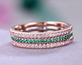 3pcs Half eternity wedding band Petite Thin Pave Wedding ring sets sterling silver with white/rose gold plated Pink / Green CZ Gfit for her