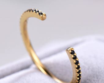 Black CZ Cubic Zirconia Wedding Band White Yellow Rose Gold Plated 925 Sterling Silver Unique Open Stacking Ring Matching Bridal Eternity