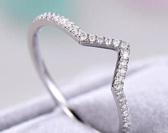 Cubic Zirconia Diamond Wedding Band White Gold Sterling Silver V Shaped Chevron Bridal Ring Women Anniversary gift Promise Stacking Unique