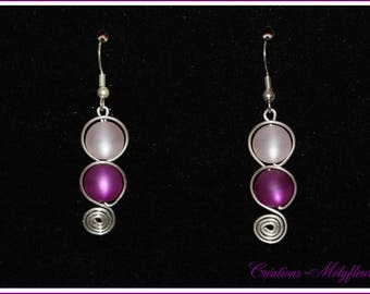Beautiful earrings with pink and purple beads