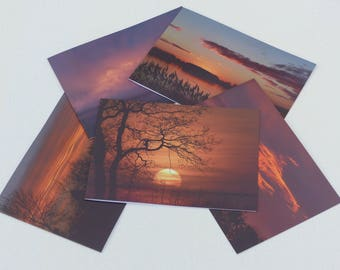 A5  greetings cards - set of 5 Norfolk Sunsets - blank inside - laminated heavyweight photo card
